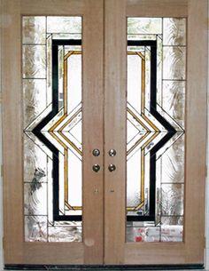 ArtGlassByWells | Contemporary custom leaded glass front doors in Houston, Texas.