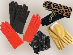 """des gants pour l'hiver - LOVE gloves !!! (gants léopard Causse - gants cuir perforé orange Capucine Hermès - les mitaines """"rock"""" Karl - gants """"motard"""" The Kooples - gants jaunes Tara Jarmon)"""