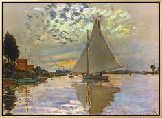 Monet: Sailboat Framed Canvas Print by Claude Monet at Art.com