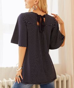 9b12b88299c09 Suzanne Betro Weekend Navy   White Stripe Scoop Neck Top - Women   Plus