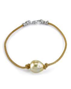11mm Golden Baroque Cultured Pearl Leather Bracelet ** Click image for more details.
