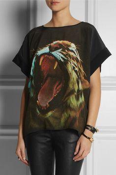 Emma Cook|Tiger-print silk crepe de chine top|NET-A-PORTER.COM