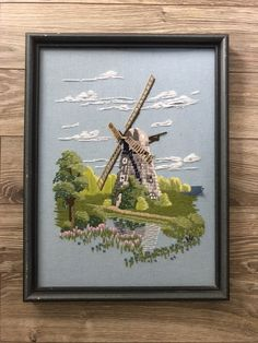Vintage crewelwork windmill scene, embroidery wall art, vintage fibre art Retro Campers, Blue Lotus, Vintage Fisher Price, Fibre Art, Collectible Figurines, Vintage Frames, Windmill, Fiber, Scene