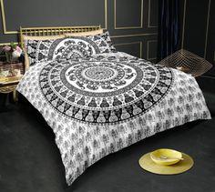 Black empire elephant imprimer housse de couette double ensemble de lit inc taies