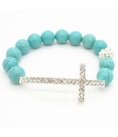 Turquoise Beaded stretch bracelet with Cross - Jewelry