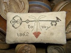 Your place to buy and sell all things handmade Heart Cushion, Heart Pillow, Cross Stitch Finishing, Cross Stitch Heart, Cross Stitch Designs, Cross Stitch Patterns, Cross Stitching, Cross Stitch Embroidery, Primitive Pillows