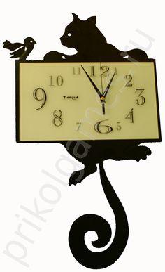 """Оригинальные настенные часы """"Кошка"""" 35 х 58 х 5 см.  Артикул: ЧО-1  Цена: 1560.00 руб. за (шт.)"""