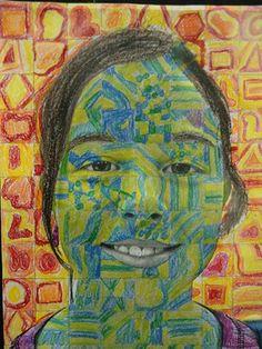 Chuck Close inspired self portrait by my student Lauren, grade 5 (Donna Staten)