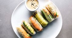 Get the recipes for Instagrammable healthy summer rolls, featuring in season vegetables and healthy, delicious dipping sauces.