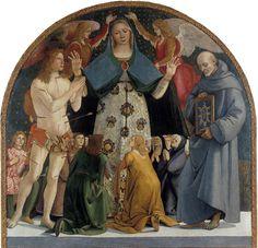 Luca Signorelli, Madonna della Misericordia tra San Sebastiano e San Bernardino, (1490 ca.), Museo Diocesano, Pienza