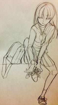 靴紐を結んでいる少女、登校前。    アナログ