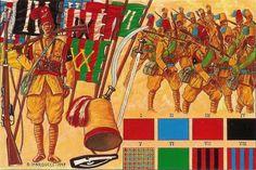 Regio Esercito - LA COSTITUZIONE DELLE TRUPPE REGOLARI INDIGENE Il 1° ottobre 1888 il disciolto Corpo dei Basci-Buzùk  fu sostituito con un Reggimento di Fanteria Regolare Indigena su quattro battaglioni che poi furono resi autonomi, ciascuno di essi aveva come distintivo il caratteristico colore della fascia alla vita e del fiocco del tarbusc,con un proprio gagliardetto e un motto: I Turitto, II Hidalgo, III Galliano, IV Toselli, V Ameglio, VI Cossu, VII Valli, VIII Gamerra.