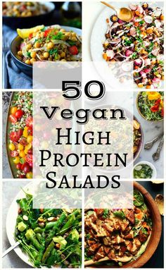 50 Vegan High Protein Salads (The Stingy Vegan) We've scoured the internet to find fifty of the best, most creative and beautiful (and tasty) vegetarian and vegan high protein salads. Vegan Keto, Vegan Foods, Vegan Dishes, Tasty Dishes, Vegan Raw, Vegan Life, Raw Food Recipes, Veggie Recipes, Healthy Recipes