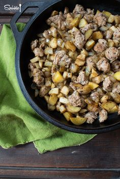 Pork sausage cooked up with potatoes, onions and turnips for a quick skillet breakfast.