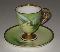 Antique Corone Limoges France Tea Cup & Saucer Hand Painted Porcelain