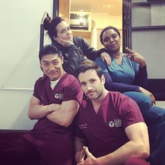 Brian Tee, Colin Donnell, Torrey DeVitto, and Marlyne Barrett