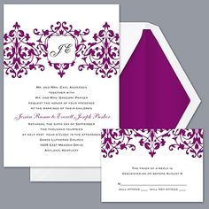Romance - Sangria Invitation - Ours will be much prettier with the font and colors we chose (Sangria and gold).