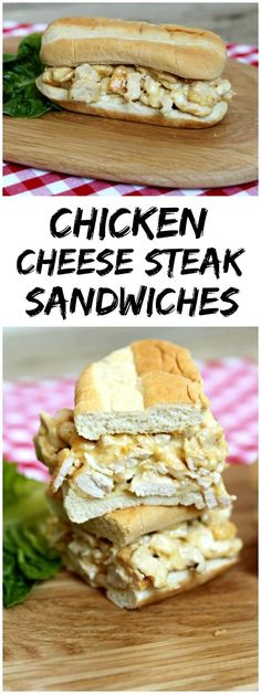 Easy Chicken Cheese Steak Sandwiches recipe - http://RecipeBoy.com : just like the classic Philly Cheese Steak sandwiches recipe but made with chicken instead!