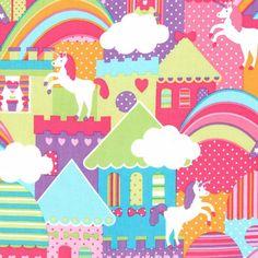 Michael Miller Unicorn Town - 9.95 Yard - Fabric 100% Cotton  - Princess - Unicorns - Rainbows US$2.80 +$3.5