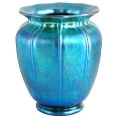 American Steuben Carder Period Blue Aurene Art Glass Shade Vase