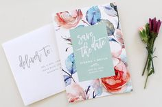 Calligraphy Save the Date  Floral Save the Date Card by TiedandTwo