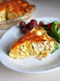Tarta o pastel de pollo y queso cheddar
