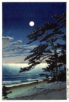 hanga gallery . . . torii gallery: Moon at Ninomiya Beach by Kawase Hasui,  1932