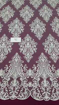 Beaded ivory lace fabric Sequin lace French lace Chantilly