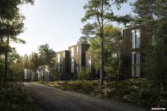 Tallbacken is a new Scandinavian housing concept located in the forest outside of Stockholm. The concept is aimed at couples and families of mixed ages who want to live close to nature, but still around the city. Scandinavian Architecture, Architecture Visualization, Architecture Graphics, Concept Architecture, Scandinavian Home, Landscape Architecture, Landscape Design, Architecture Design, Amazing Architecture