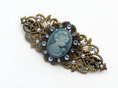 Kamee Haarspange in blau bronze antik Haarschmuck von Schmucktruhe