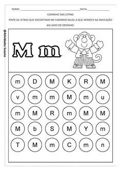 Caminho das letras | Atividades Pedagogica Suzano Letter Worksheets For Preschool, Preschool Letters, Alphabet Worksheets, Preschool Printables, Alphabet Activities, Preschool Education, Preschool Learning, Learning Centers, Fun Activities For Preschoolers