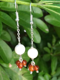 Mother Of Pearl & Agate Earrings With Chain, White Orange Droplet Earrings…