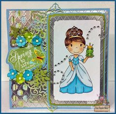 Fairy Stamp Land: The Paper Nest Dolls ~ Fairytale Collection: Frog Princess. Noor! Design Dies, Copic Markers. Card.