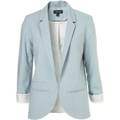 Structured Blazer ($130) ❤ liked on Polyvore featuring outerwear, jackets, blazers, tops, structured blazer, structured jacket, blue blazer, blue jackets and blue blazer jacket
