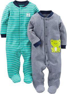 9 Months, Raccoon//Green Striped Carters Baby Boys Cotton Zip-Up Sleep N Play