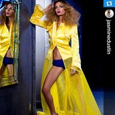 Yellow Lloyd Klein trench originally designed for Whitney Houston to perfomr on VH1 DIVAS.