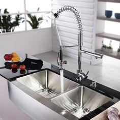 "Kraus 35.9"" x 20.75"" 8 Piece Farmhouse Double Bowl Kitchen Sink Set & Reviews | Wayfair"