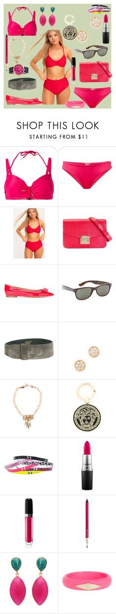 """""""Perfect style"""" by jamuna-kaalla ❤ liked on Polyvore featuring Marlies Dekkers, ONIA, Furla, Salvatore Ferragamo, Ray-Ban, Gorjana, Mawi, Versace, Under Armour and MAC Cosmetics"""