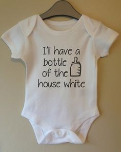 I'll have a bottle of the house white cool baby body vest girl boy baby clothes gift idea funny on Etsy, $9.36