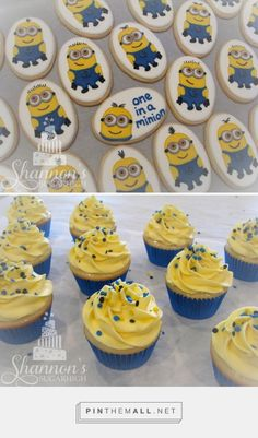 Minion cookies and matching cupcakes. Cookies are oval with a white background and a variety of Minion characters. Cupcakes are vanilla with yellow vanilla buttercream and decorated with yellow, blue, and black quins, and a blue foil cupcake liner. Keywords: sugar cookie - created via https://pinthemall.net