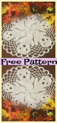 Crochet Halloween Doilies - Free Patterns These crochet Halloween doilies will set the mood perfectly for Halloween! Today, we'll be showing you both a pumpkin doily and ghost doily! You can crochet Crochet Pumpkin, Crochet Fall, Holiday Crochet, Crochet Home, Filet Crochet, Crochet Gifts, Cute Crochet, Knit Crochet, Thread Crochet