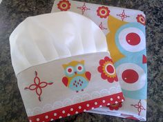 Petit Kiwi: Avental e toca de cozinha