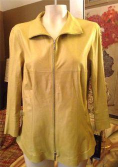 NWT-Auth-848-Lafayette-148-Green-Lamb-Leather-Blazer-Jacket-Size-10