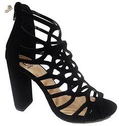 Delicious Women's Dress Sandal, MVE Shoes Wrapped Chunky Heel, mve shoes uma black size 7.5 - Delicious pumps for women (*Amazon Partner-Link)