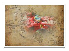 FERRARI F1 Alonso Based on my Original Drawing Art by drawspots, $42.00 #ferrari