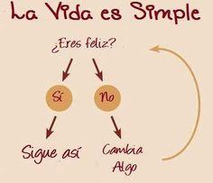 """Frases de Vida """"La Vida es Simple: ¿Eres Feliz? Si eres feliz, sigue así, si no eres feliz, cambia algo."""