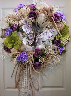 Pastel Spring Mesh Wreath on Etsy, $120.00