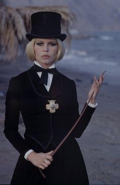 Bardot on the set of Shalako, 1968