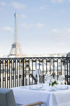 The Oiseau Blanc terrace restaurant at The Peninsula Paris hotel. [Courtesy Photo]