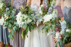 A Homegrown Minnesota Wedding: BHLDN Penelope Gown / Blush, gray, and lavender bridesmaids dresses   Malwitz Photography